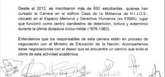 Rectoras/es de universidades nacionales reclaman al Gobierno que no cierre la Carrera de Periodismo en la ex ESMA
